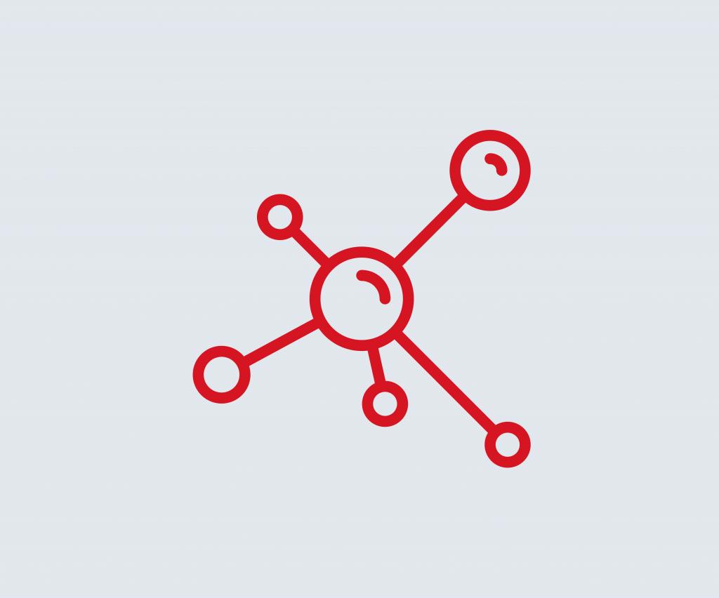 Platzhalterbild mit Forschungs-Icon in rot