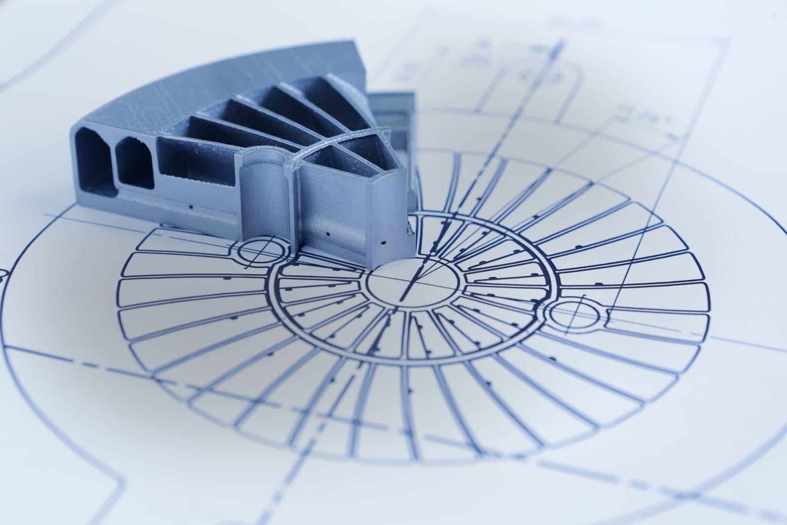 Teilstück Mischeinheit auf technischen Bauplan